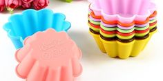 12-Pack #Flower Reusable and Non-stick #Silicone #Baking Cups / #Cupcake Liners/Muffin Cup Molds