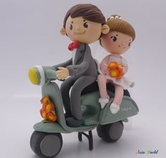 Wedding Cake topper clay, Vespa wedding clay doll, anniversary, engagement decoration. $78.90, via Etsy.