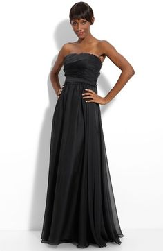 ML Monique Lhuillier Bridesmaids Strapless Chiffon Gown (Nordstrom Exclusive) (Regular & Plus Size) available at #Nordstrom I adore this one in the emerald - although it has the other colors.  I just don't know if I can carry it off without a jacket.