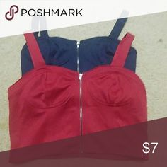 Bustier crop top Two zip front bustier type crop top. One in navy blue and one in a deep red. Blue one is a medium and the red is a large. Forever 21 Tops Crop Tops