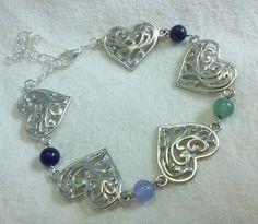 Beautiful Genuine Lapis Amethyst Jade Open Scroll Heart Bracelet by PersnicketyPatty on Etsy