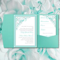 """DIY Pocketfold Wedding Invitations """"Brooklyn"""" Light Turquoise & Silver Printable Templates Instant Download Order Any 1-2 Colors You Print Pocket Wedding Invitations, Light Turquoise, Printables, Printable Templates, 2 Colours, Blue Wedding, Place Card Holders, Wedding Ideas, Silver"""