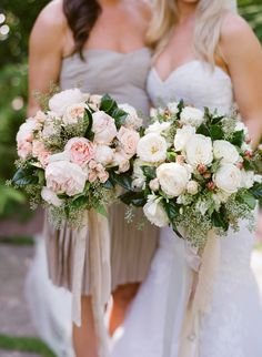 White and Blush, Consider having the Bride's Bouquet white and the Bridesmaids' another color. Different colors, same flowers. #WeddingFlowers #WeddingBouquet