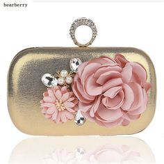 BEARBERRY 2017 high quality women ring evening clutch wedding dinner bags for ladies brand handmade flower purse party bags