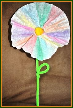 Join us in making these flower crafts for kids from some coffee filters!