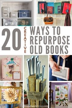 Express your creativity and love of reading with these unique crafts with old books! Included are upcycled books crafts like a literal pocketbook, book knife block, book page roses, book plant holder, repurposed books coat rack and more! Diy Crafts For Gifts, Upcycled Crafts, Repurposed, Handmade Home Decor, Diy Home Decor, Craft Projects, Craft Ideas, Upcycling Projects, Book Page Roses