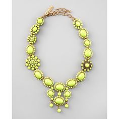 Chartreuse Resin Necklace by Oscar de la Renta at Bergdorf Goodman. ~The ONLY shade of yellow I can wear. Wedding Jewelry, Jewelry Box, Jewelry Accessories, Fashion Accessories, Fashion Jewelry, Resin Jewellery, Jewelry Trends, Women's Fashion, Brass Necklace