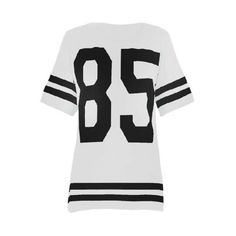 American Varsity 85 Baseball Football Striped Oversized T Shirt Top ($12) ❤ liked on Polyvore featuring tops, t-shirts, striped tee, white stripes t shirt, oversized white t shirt, white t shirt and white scoop neck tee