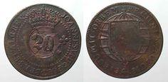 1835 Brasilien BRAZIL 20 Reis ND(1835) on 40 Reis 1799 R JOAO VI copper VF #… Brazil, Personalized Items, Copper, Rice