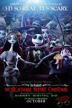 the nightmare before christmas american movie poster 3 d 1993 - A Nightmare Before Christmas 2