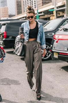 #NYFW, street style, Fall 2017 outfit ideas, blogger style, denim jacket, top knot, menswear