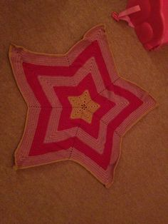 Crochet blanket - Beth's Little Star Afghan pattern - free on Ravelry - to fit pram or Moses basket or car seat - made in girl colours with Stylecraft Special DK pomegranate, camel and pale rose