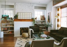 Inside a Century-Old, Contemporary Colonial, Design*Sponge My Living Room, Home And Living, Living Spaces, Gravity Home, Colonial, Lounge, Men With Street Style, Swinging Chair, Decoration