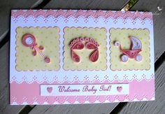 Craft Ideas for all: Handmade Welcome Baby Girl Greeting Card with Paper Quilling