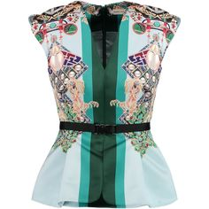 Mary Katrantzou Mirage printed satin peplum top (€690) ❤ liked on Polyvore featuring tops, sky blue, satin top, loose fit tops, colorful tops, loose tops and peplum tops