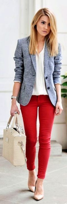 Work style: Red pants, white blouse, gray blazer