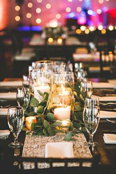 centerpieces: candles + greenery