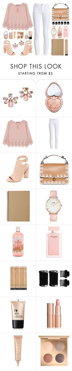 """soft pink"" by valoverhere ❤ liked on Polyvore featuring Marchesa, Too Faced Cosmetics, Comptoir Des Cotonniers, Barbour, Kendall + Kylie, Fendi, Muji, CLUSE, Narciso Rodriguez and T3"