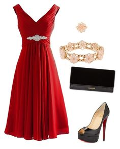 """Untitled #2444"" by ania18018970 ❤ liked on Polyvore featuring Christian Louboutin, Balmain and Monsoon"