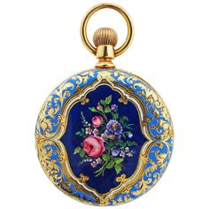 """Tiffany & Co. Yellow Gold and Enamel Pocket Watch circa 1900. Tiffany & Co. 18k yellow gold hunting cased pocket watch with floral and fruit enamel. Measuring 1 1/2"""" diameter. Circa 1900 . Lever set,in good running order."""