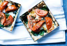 Tomattærter med spinat og mozzarella