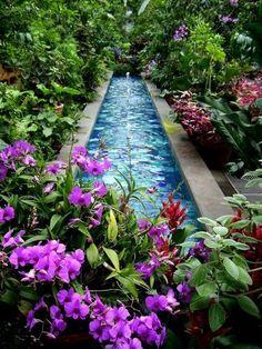 Beautiful backyard fountain