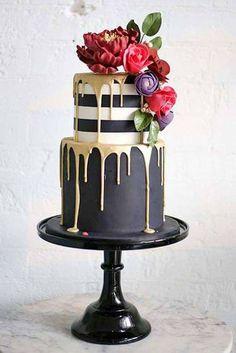 Black drip cake! #dripcake #cakeideas #wedding #birthday