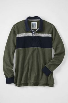 c97295082 Men s Stripe Rugby Polo Shirt from Lands  End