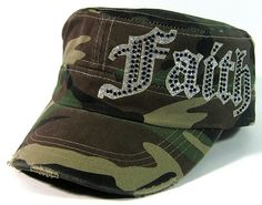 Rhinestone FAITH Bling Glitter Distressed Cadet Hats Wholesale - Green Camo