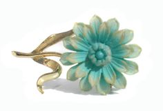 Small Light Pastel Blue & Gold Flower Brooch with by RibbonsEdge, $4.99