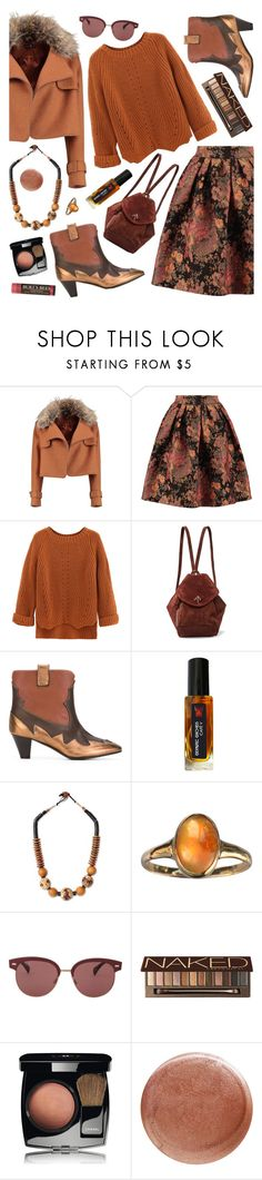 """""""Brown"""" by ladomna ❤ liked on Polyvore featuring Maje, WithChic, MANU Atelier, Marc Ellis, NOVICA, Oliver Peoples, Urban Decay, Chanel, Nails Inc. and Burt's Bees"""