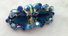 Gorgeous Vintage Blue Rhinestone Brooch unsigned by Jessamines