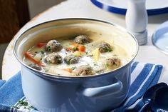 Kohlrabicremesuppe mit Fleischklößchen