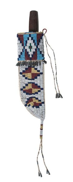 Cheyenne Beaded and Quilled Hide Knife Sheath with Knife (9/26/2014 American Indian: Live Salesroom Auction)