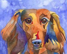 Dachshund Art Print of Original Watercolor by dogartstudio
