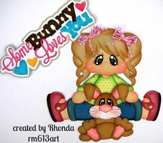 Snuggle Bunny Girl Brunette paper piecing for scrapbook pages by Rhonda rm613art
