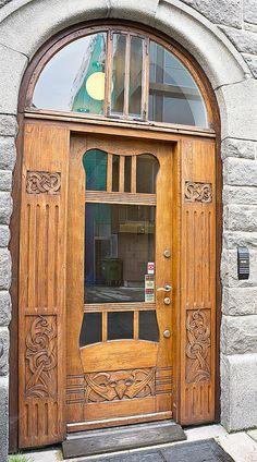 Alesund, Norway ~ Swan Pharmacy rear door by Philip Grand Entrance, Entrance Doors, Doorway, Art Nouveau, Art Deco, Porches, Cool Doors, Unique Doors, Door Knobs And Knockers