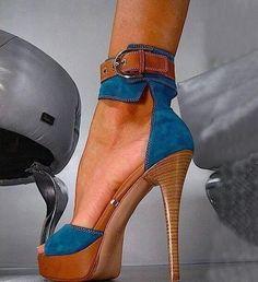 Fashion Denim Ankle Strap Platform Heel  Platform Heels from fashionmia.com