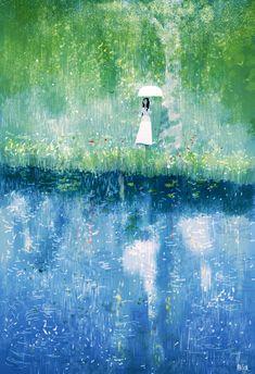 Brushstrokes in the world: Umbrellas in the Rain / Paraguas bajo la lluvia / Umbrella in the Rain Illustrations, Illustration Art, Pascal Campion, Umbrella Art, Parasols, Wow Art, Art Graphique, Artsy Fartsy, Louvre