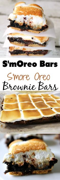 Smore Oreo Brownie Bars - Smoreo Bars - an easy dessert your friends and family will beg for