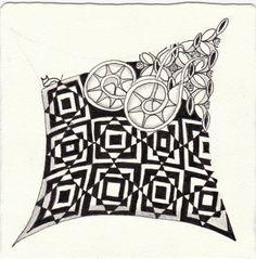 Ein Zentangle aus den Mustern On Target, Mesmer, Nugget,  gezeichnet von Ela Rieger, CZT