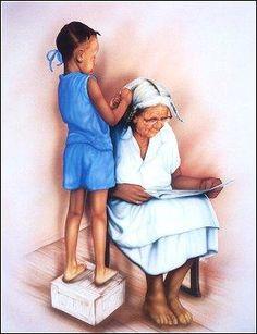 girl Young grandma black with