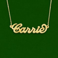 Carrie style name necklace, personalized name necklace, best name necklace, 18K Gold Plated Over  925 Sterling Silver
