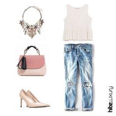 زياؤك بلمسة عصرية  The perfect look for a casual day. #summer #fashion #beauty #heels #boyfriendjeans #purse #statementnecklace #hitzluxury