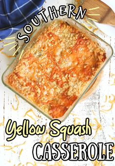 This simple yellow squash casserole goes together quickly and can be made ahead. It's a creamy southern classic that you find at potlucks, cookouts, and picnics all summer long. Yellow Squash Casserole, Summer Squash Casserole, Easy Potluck Recipes, Side Dish Recipes, Summer Side Dishes, Side Dishes Easy, Freezing Yellow Squash, Sauteed Squash, Yellow Squash Recipes