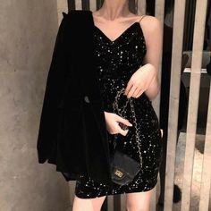 Women's Lovely Dresses Chic Ins Kawaii Sleeveless V neck Velvet Harness Dress Girl Sweet Korean Punk Clothes For Women Female Punk Outfits, Korean Outfits, Dress Outfits, Fashion Dresses, Dress Up, Dress Girl, Chic Dress, Korean Style Dress, Korean Fashion Dress
