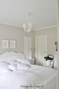 I love this all white room but it would be such a risk with my family.
