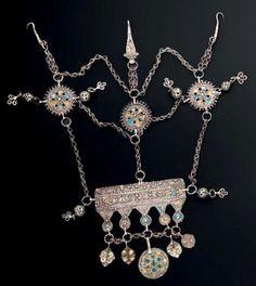 Morocco ~ Aït Ouaouzguit, Jbel Siroua | Headdress (N'Taouza); silver, cloisonné enamel in yellow, green and blue | Est 1'500 - 1'800€ ~ (Jun '14)