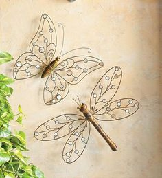 Metal And Capiz Shell Butterfly Wall Art: