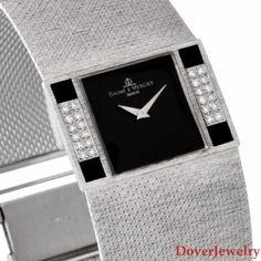 Vintage Baume & Mercier Diamond Onyx 14K Gold Mesh Watch 78.7 Grams